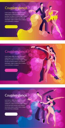 Beautiful couple dancing Latin American dance. A set of templates for horizontal banners.