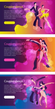 Beautiful couple dancing Latin American dance. A set of templates for horizontal banners.