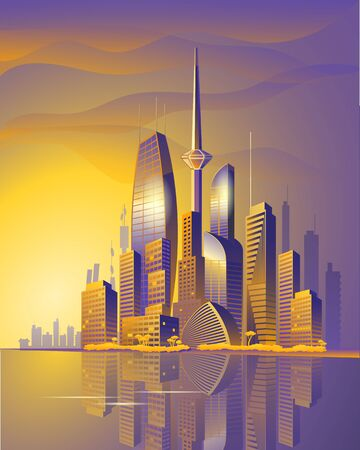 City of the future skyscrapers at dawn. Template for a vertical poster or cover. Vector illustration.