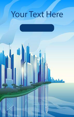 A modern city on the banks of the river. Blue skyscrapers against the clouds. Template for a vertical banner and the first screen for the phone.