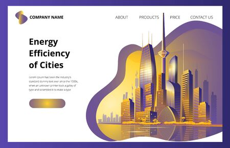 Fantastic city in the style of cyberpunk. Vector illustration in retro style in neon colors. The first screen template for the landing page.