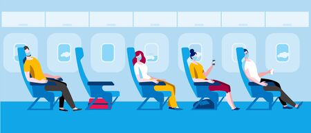 People in medical masks sit on the plane. Vector illustration in flat style. Traveling by plane during a pandemic. Иллюстрация