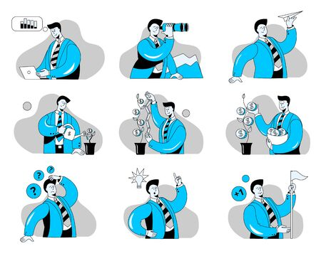 A set of illustrations on the topic of business. Concept vector illustration with a businessman. Images in the outline style in two-color scheme.