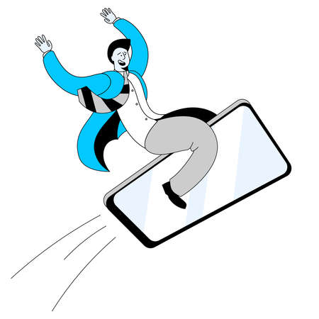 A man in a business suit is flying on a mobile phone. Concept of a vector illustration on the topic of high-speed mobile Internet. Иллюстрация
