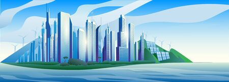 City of the future skyscrapers at dawn. City on the background of mountains withwind generators and solar panel. Vector horizontal illustration.