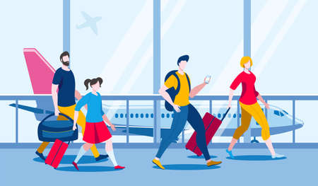 People with hand Luggage to go on Board the aircraft. Vector illustration in flat style. Иллюстрация