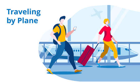 People with hand Luggage to go on Board the aircraft. Vector illustration in flat style. Template for a horizontal banner.