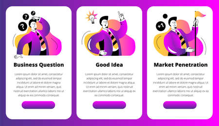 A set of mobile phone screens on the topic of business and marketing. The businessman solves questions, finds ideas and conquers new markets. Vettoriali