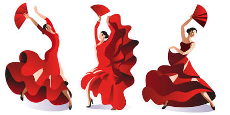 Three women in red dresses with fans dance flamenco. Vector illustration.