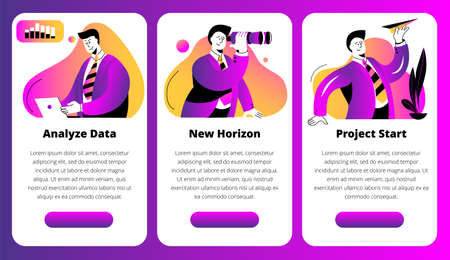 A businessman launches a paper airplane. A conceptual illustration on the topic of a startup. Template for a horizontal banner. Ilustração