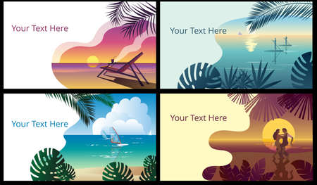 Tropical landscape with a sunset on the sea and a sun chair. Template for a horizontal banner. Ilustracja