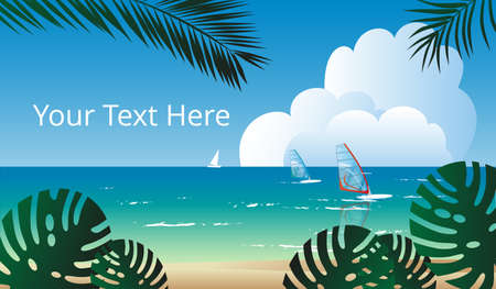 Summer sea landscape with windsurfers. Template for a horizontal banner. Ilustracja