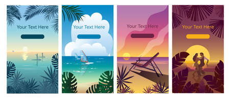 A set of vertical banners with a tropical landscape. Vector illustrations.