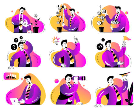 A set of illustrations on the topic of business. Concept vector illustration with a businessman. Images in the outline style in neon color scheme. Vettoriali