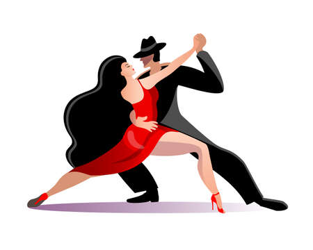 Beautiful couple dancing tango. A woman in a red dress and a man in a black suit and hat. Vector illustration in a flat style in red and black.