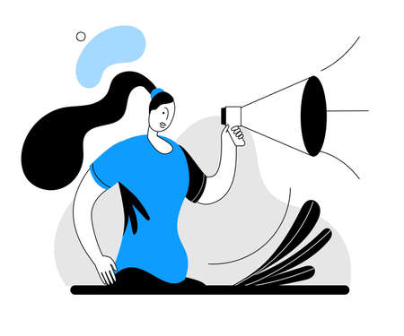 A woman in a modern style shouts into a megaphone. Vector illustration in two-color scheme and outline style.