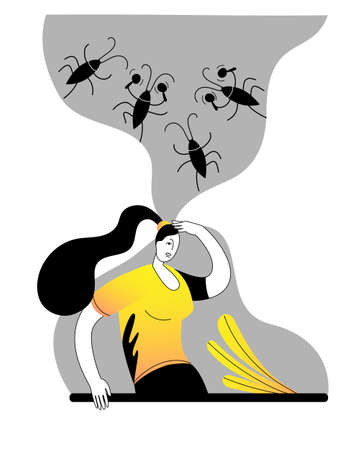 A brooding woman with cockroaches in her mind. Concept of a vector illustration on the theme of strange ideas.