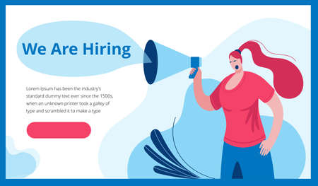 A woman in a modern style shouts into a megaphone. Template for a horizontal banner in a flat style about working in a company.
