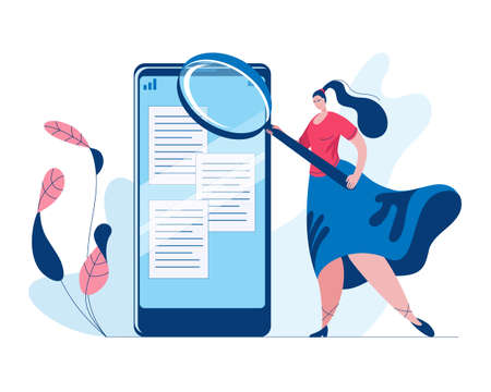 A beautiful girl in a long skirt with a large magnifying glass searches for information in a smartphone. Concept of a vector illustration in a flat style on the theme of modern technologies.