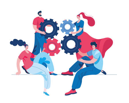 Boys and girls connect parts of the mechanism. Concept of a vector illustration in a flat style on the theme of teamwork and joint solutions. Stock Illustratie