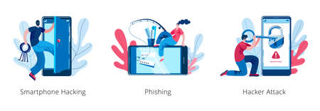 A hacker girl is engaged in phishing on a smartphone. Hackers open the smartphone. A set of vector illustrations on the topic of cybercrime.