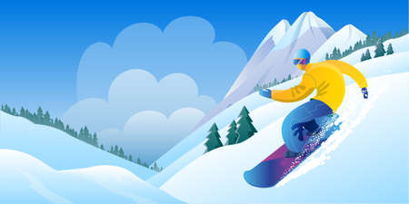Beautiful mountain landscape in delicate shades. Image of a snowboarder in sunny weather against the background of mountains. A template of horizontal banner. Vector illustration.