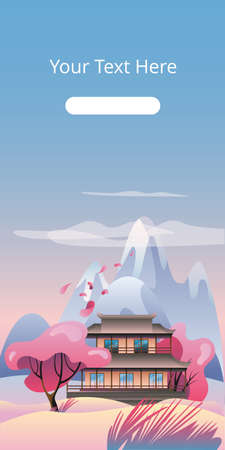 House in oriental style on the background of a mountain landscape. Vector illustration in flat style in pink colors. A template of vertical banner. Ilustração