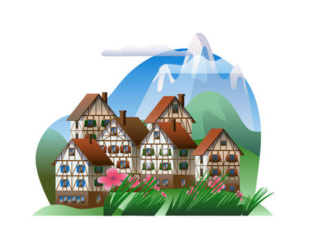 Spring mountain landscape with half-timbered houses. Vector illustration on the theme of the Bavarian Alps.