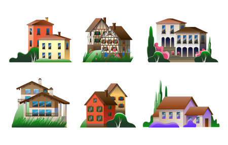 A set of images of village houses in different architectural styles. Vector full-color illustration. Vektoros illusztráció