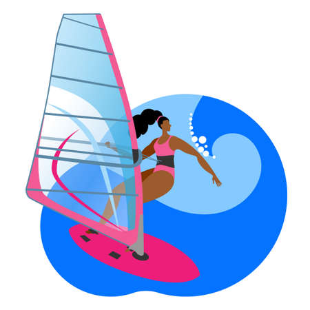Girl ride a Board with a sail. Vector icon or sticker in a flat style on the theme of surfing.
