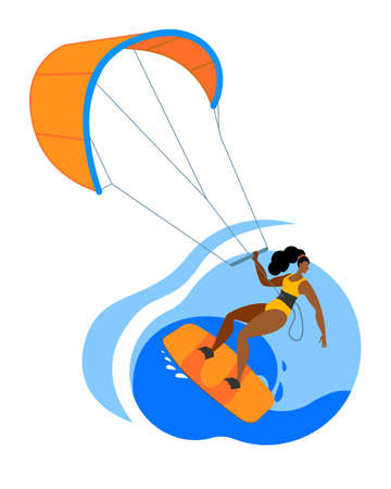 A girl on a board is engaged in kitesurfing. Vector icon or sticker in a flat style on the theme of surfing.