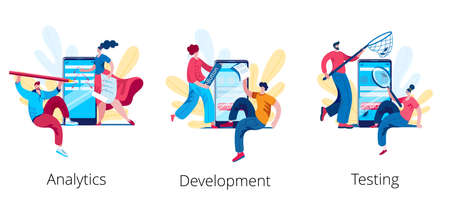 A team of analysts is developing a scheme for a mobile application. The concept of a vector illustration on the topic of analytics and development of technical requirements.