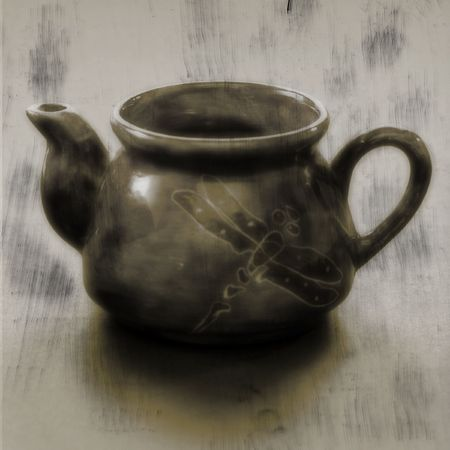 Teapot with dragonfly 版權商用圖片