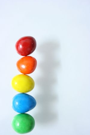 Candy arranged in a line