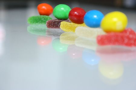 readiness: Colourful candy arranged in a line