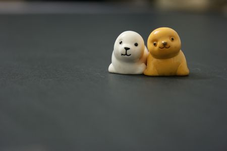 2 toy seals sitting together Stock Photo - 3354049