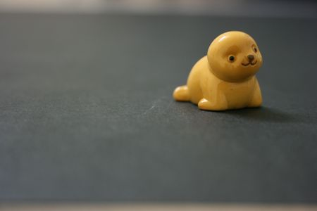 facing on the camera: Yellow toy seal