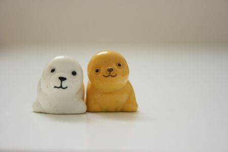 Two close up toy seals Stock Photo - 3354043
