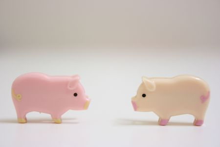 Swine couple, pink and beige Stock Photo - 3360013