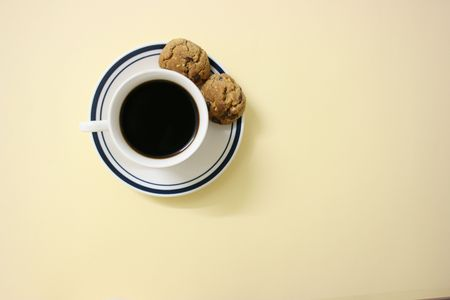 Coffee and cookies, top view