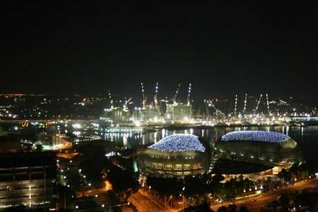 well known: Scenery of Esplanade, Singapore at night