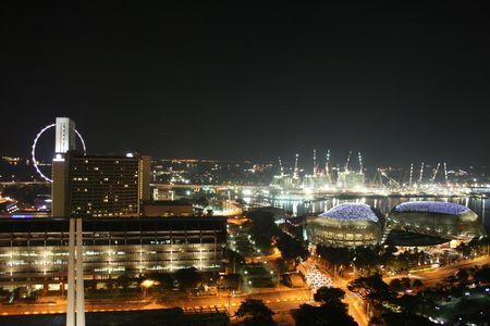 Dekoracje Thalia, Singapuru w nocy  Zdjęcie Seryjne