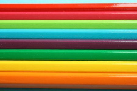 Color pencils horizontally aligned,close up