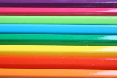 Osiem kolorów ołówki poziomo wyrównany, bliska Zdjęcie Seryjne
