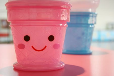 Pink smiley face Stock Photo