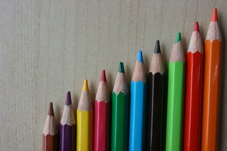 increment: A row of color pencils aligned in increment order