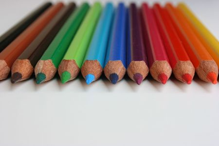 Color pencils arranged nicely Stock Photo