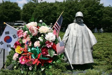 Washington DC,USA, July 22,2010 - Close up of a wreath placed at Korean War Veterans Memorial Stock Photo - 8644745