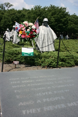 honouring: Washington DC,USA, July 22,2010 – Engravings on the ground at Korean War Veterans Memorial Editorial