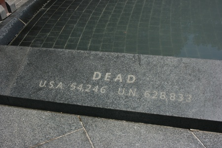 Washington DC,USA, July 22,2010 - Dead count of Korean War on the ground at Korean War Veterans Memorial, Washington DC